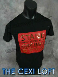 Mens Extended T Shirt STAND YOUR GROUND Black 3D Gold Decal Shreds Hip Hop $16.49