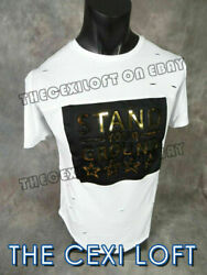 Mens Extended T Shirt STAND YOUR GROUND White 3D Gold Decal amp; Shreds Hip Hop $16.49