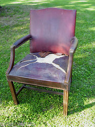 ANTIQUE Office Chair Mid Century Red Leather amp; Wood Arm Decorative Tack Trim $30.00