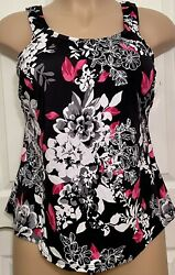 NWT Swimsuits For All Black Pink Floral Lightly Padded Tankini Top Size 20 $19.95