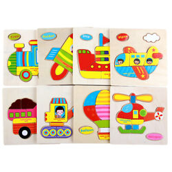 3D Wooden Puzzles Cartoon Transportation Puzzle For Toddler Infant Kids Wood Toy $4.10