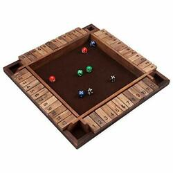 4 Player Wooden Shut the Box Board Game 12 Numbers with Dices $29.99