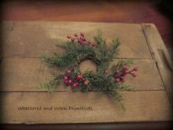 Primitive Country 9quot; Cedar amp; Red Berry Candle Ring with 2quot; Center $5.99