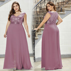 Ever Pretty Sequins Formal V Neck Evening Dresses Cocktail Plus Size Ball Gown $42.99