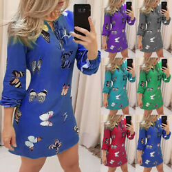 Womens Sexy Butterfly Bodycon Mini Dress Ladies Long Sleeve Evening Party Dress $15.99
