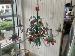 Vintage Italian Floral Tole 5 Light Chandelier PinkGreen amp; Yellow MAKE OFFERS $355.99