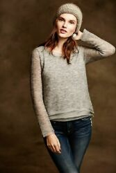 NWT ANTHROPOLOGIE KNITTED AND KNOTTED Irina pullover sweater gray XS $45.00