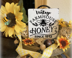 VINTAGE FARMHOUSE HONEY BEE MINI SIGN TIERED TRAY RUSTIC HOME WOOD DECOR $7.25