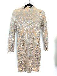 Illusion Long Sleeve Dress Nude Silver Glittery Party NYE Cocktail Size Small $29.99