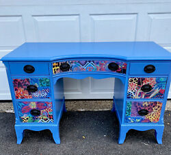 Blue Glossy Vintage Desk Update $325.00