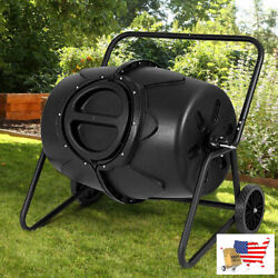 Garden Compost Bins 50 Gallon Wheeled Compost Tumbler Garden Waste Bin Black $223.97