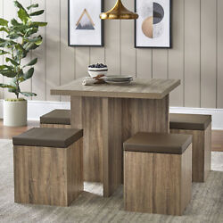 Modern Kitchen 5 Pc Dining Set Table Padded Storage Ottoman Stool Chairs Brown $279.93
