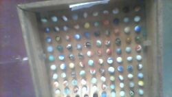 old marbles antique with marble holder case holds 160 marbles $80.00