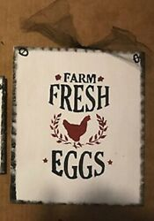 FARM FRESH EGGS chicken rooster country kitchen wall art decor wood farm sign $8.09