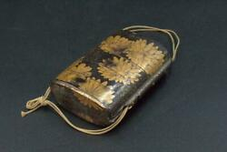 Japanese Antique wooden Gold Makie Inro chrysanthemum VG172 $85.00