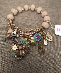 NWT Betsey Johnson Weave And Sew Multi Pendant Stretch Bracelet $30.00