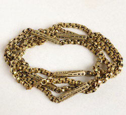Mens Ladies Antique Victorian Rolled Gold Stars amp; Bars Belcher Necklace Chain GBP 85.00