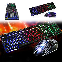 Wired Gaming Keyboard and Mouse Combo RGB LED Backlit Gaming for Windows PC USA $22.69