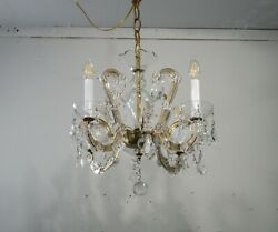 Antique Vintage Chandelier Maria Theresa Crystal Petite 4 Light Original $695.00
