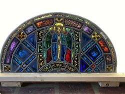ANTIQUE GERMAN STAINED GLASS CHURCH ANGEL WINDOW FROM A CLOSED CHURCH X1 $1250.00
