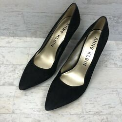 Anne Klein Tonia Suede Pointed Toe Pumps Womens Size 9M Black Gold Tap Heels $19.97
