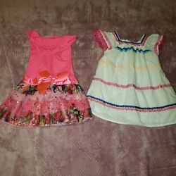 Girls Toddler 2T Lot Of 2 Colorful Dresses Cute $15.00