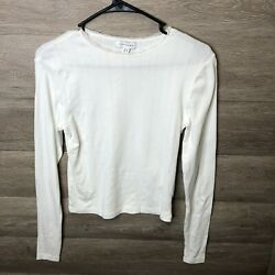 Topshop Womens Size 6 White Rib Lace Trim Neck Long Sleeve Top NWOT $13.99