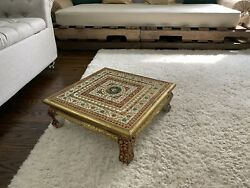 Home Decor India Floor Table Pooja Chowki Handmade painted Holiday Gift Red Gold $60.00