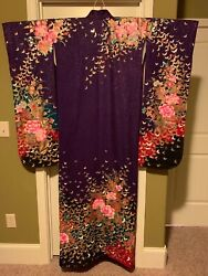 Japanese Wedding Kimono Silk violet and gold Leaf Butterfry shimmer $179.00