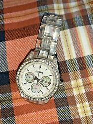 Authentic Womens Fossil Watch Fits Smaller Average Wrist Clear Link Band ❤️tw11j $50.00