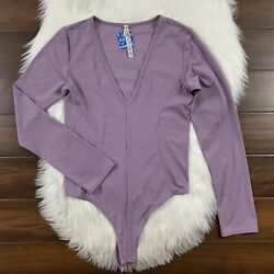 Free People Intimately Size Large Purple Lavender Long Sleeve Thong Bodysuit Top $24.95