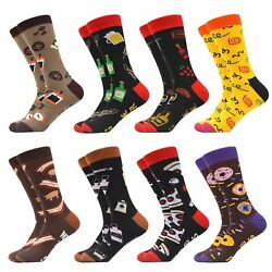 5 12 Pairs Happy Colorful Men Crew Socks Novelty High Quality Cotton Fruit Gifts $30.65
