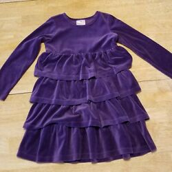 EEUC Hanna Andersson Girls Dress Velour Tiered Twirl Dress Size 120 US 6 7 $17.99