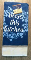 Home Collection Bless This Kitchen Themed Kitchen Towels 15x25 in. Blue $5.95