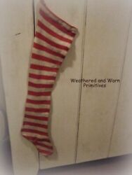 Primitive Country Faux Wool Red amp; White Stripe Christmas Stocking 29quot; Long $16.99