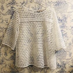 Ann Taylor Loft Blouse White Lace Boho Size Medium $14.95