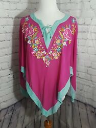 Womens Silk Pullover Poncho Cape Floral Embroidered Hippie Boho Pink Turquoise $14.99