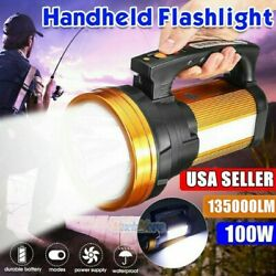 Super Bright LED Searchlight 135000LM Rechargeable Handheld Spotlight Waterproof $31.95
