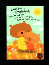 Thanksgiving Bears Hugging Sun For Great Grandson Greeting Card W TRACKING $2.99