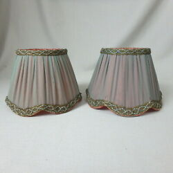 Pair of Small Pleated Sheer Fabric Chimney Lamp Shades Blue w Rose Interior $27.99