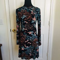 KAREN KANE BLACK FLORAL PRINT DRESS SIZE SMALL WITH LONG BELL SLEEVES $14.99