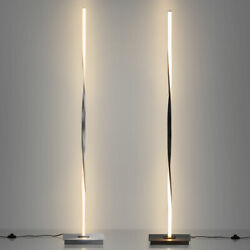 48quot;Helix LED Floor Lamp Home Standing Pole Light w Built in Light Strip Black $62.69
