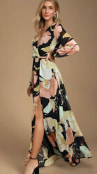Lulus Floral Black Maxi Dress Size Small High Slit Sheer Long Sleeves $35.00