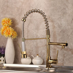 360° Swivel Kitchen Pull Up Down Sink Basin Mixer Spout Gold Tap Deck Mounted $95.00