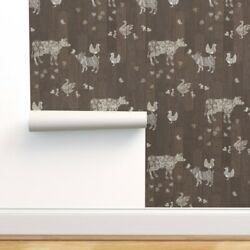 Peel and Stick Removable Wallpaper Barn Wood Floor Modern Farmhouse Animals $29.00