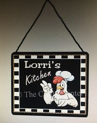 """Wall Kitchen Sign Plaque Personalized With YOUR NAME """"Chicken Rooster Chef"""" $8.95"""