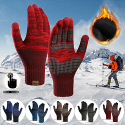 Women Men Knitted Gloves Cashmere Thick Gloves Touch Screen Skiing Gloves $6.79