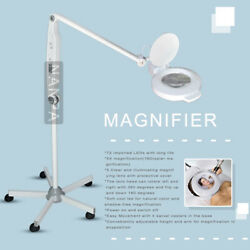 Stand 5X Diopter Magnifier Lamp Adjustable Rolling Floor Glass Lens Magnifying $175.55