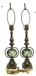 MATCHING SET OF 2 BRASS amp; GREEN WHITE PORCELAIN ELECTRIC TABLE LAMPS VINTAGE $142.49