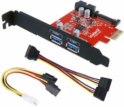 PCI E to USB 3.0 2 Port PCI Express Card and 15 Pin Power Connector $13.99